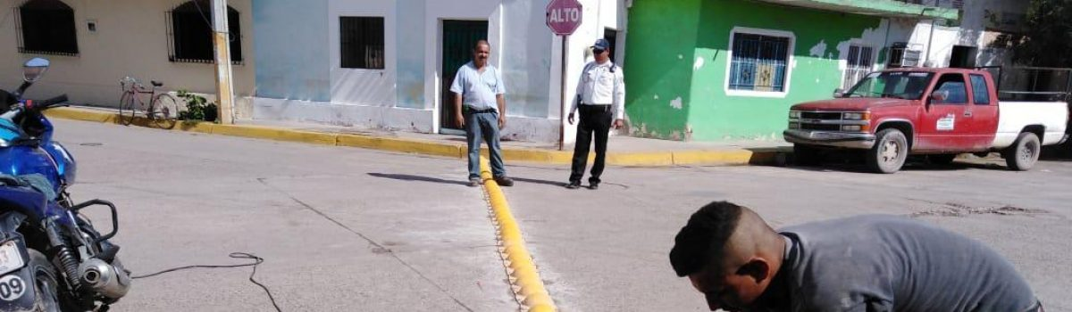 Instalan topes en Centro de la Ciudad.