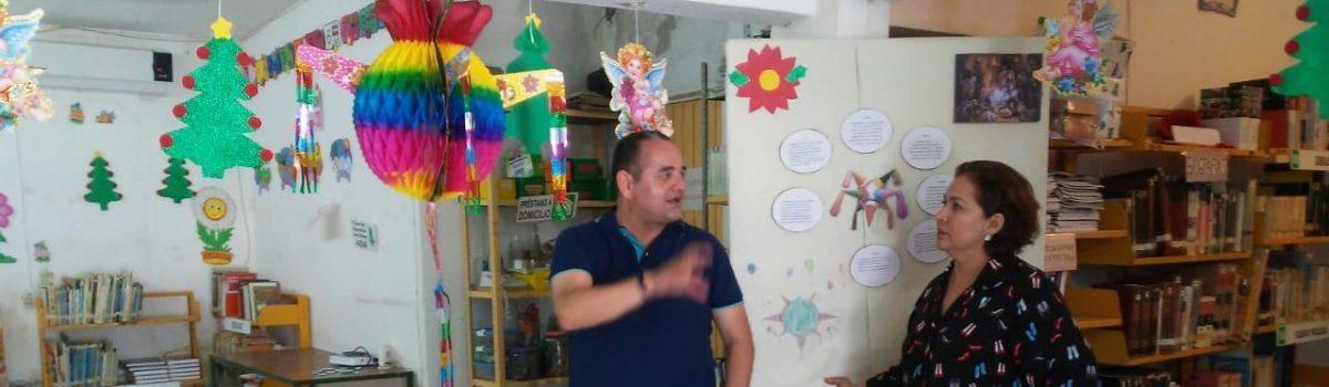Acude a supervisar  directora del IMCE a biblioteca de Pueblo Nuevo.