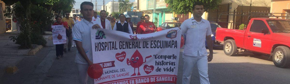 Encabezan autoridades municipales desfile por el Día Mundial del Donante de Sangre.