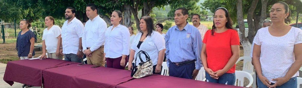 Encabezan autoridades municipales lunes cívico en Telesecundaria 63 en Tecualilla.