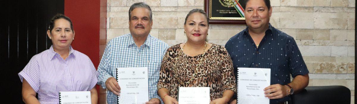 Firman convenio de colaboración H. Ayuntamiento, DIF Escuinapa y Cecati 150.