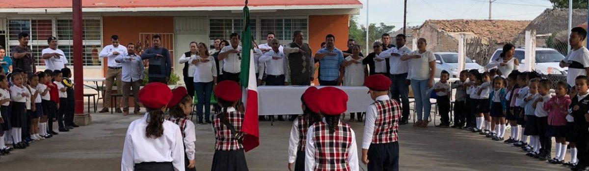 Gobierno municipal de Soto Grave es aliado de la educación inicial: lunes cívico en J. N. Bertha Salas Farías.