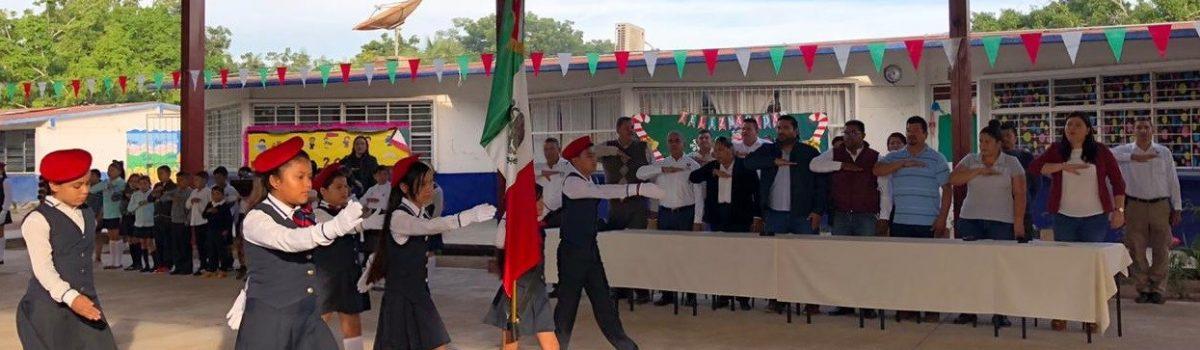 Se reanudan lunes cívico en la Esc. Prim. Rafael Buelna en la sindicatura de Palmillas.