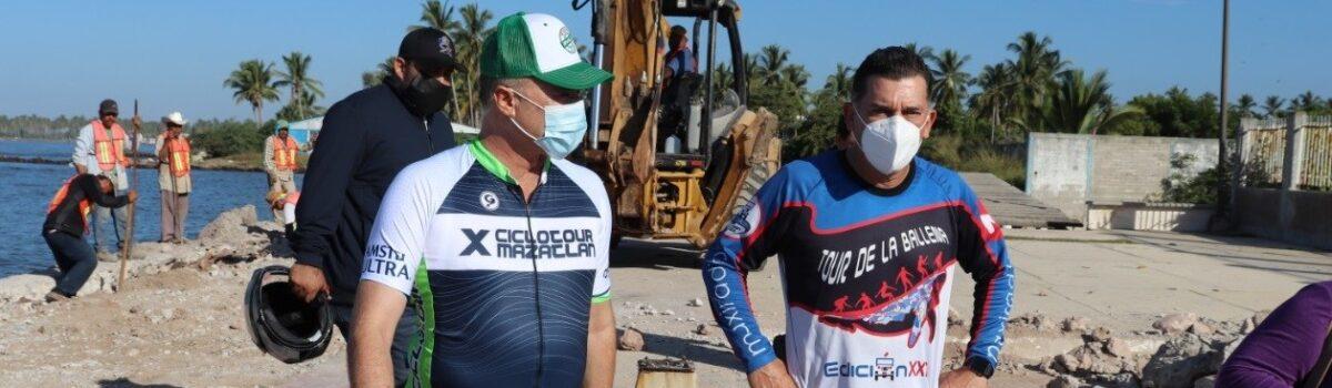 Gobernador se compromete con Soto Grave a ampliar rehabilitación de trabajos de malecón de Teacapán.