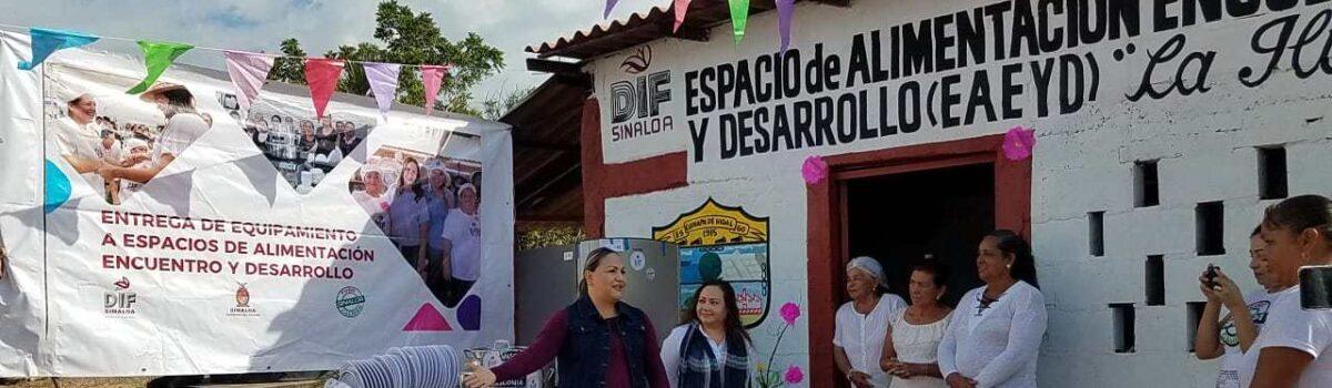Se realiza entrega de equipamiento a espacios de alimentación encuentro y desarrollo, en la comunidad la Ceiba y el Camarón, Escuinapa Sin.
